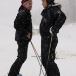 Dmitry Medvedev and Vladimir Putin skiing