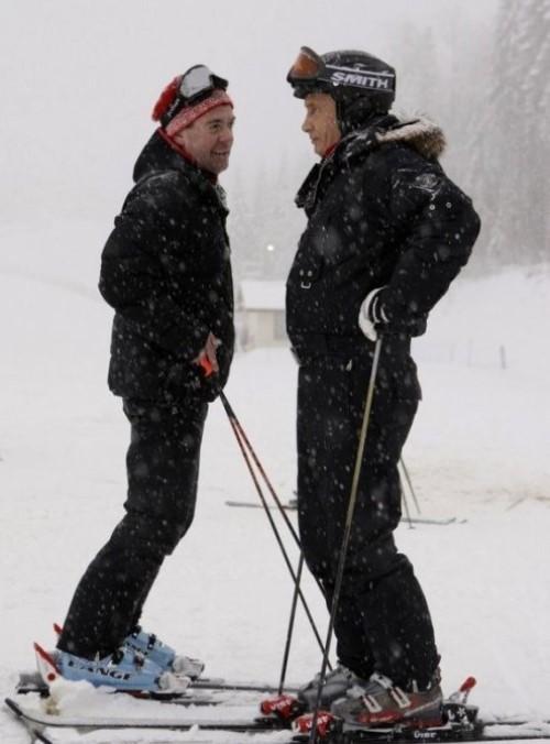 Dmitry Medvedev and Vladimir Putin skiing
