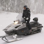 Driving Snowmobile