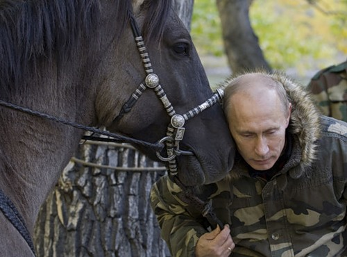 A horse sharing its secrets with Putin