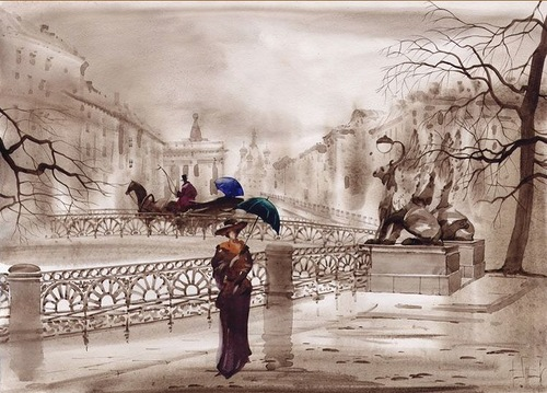 Vintage look of Watercolor paintings by Gadzhievs - Sabir and Svetlana