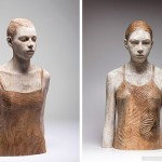 The French woman. Nut wood. Hyperrealistic sculptures of wood by Bruno Walpoth