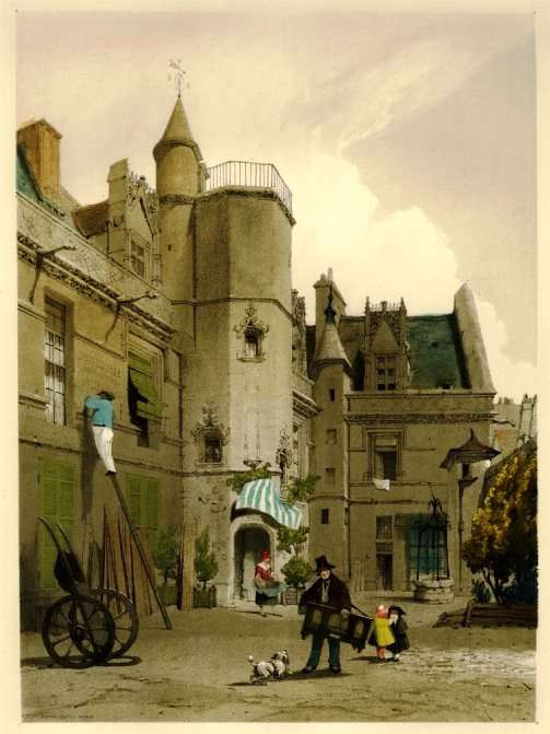 a view from the court of the Hôtel Cluny, with two sides of the building and a tower, a man with a barrel organ and a dog in the foreground. 1839