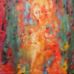Madonna with a child, religious theme in beautiful painting by Ukrainian artist Valery Kot