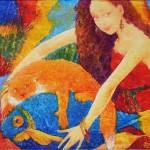 Red cat on a blue fish. Surreal art by Ukrainian artist Valery Kot