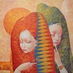Double portrait. Surreal art by Ukrainian artist Valery Kot