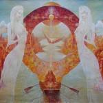 Two angels. Surreal art by Ukrainian artist Valery Kot