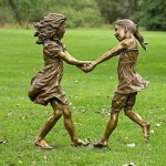 Bronze sculpture of dancing girls