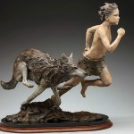 Running together. Sculpture by American artist Angela Mia De La Vega