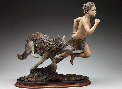 Running together. Sculpture by American artist Angela Mia De La Vega