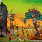 Street art by Brazilian artists Os Gemeos (Otavio and Gustavo Pandolfo)