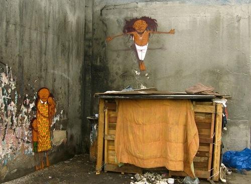 Street art by Brazilian artists Os Gemeos (Otavio and Gustavo Pandolfo)