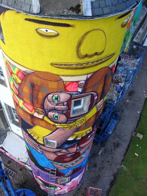 Colorful Street art by Brazilian artists Os Gemeos (Otavio and Gustavo Pandolfo)