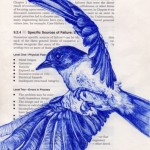 A bird fluing left. Blueink pen drawing on book pages by American artist Paula Swisher