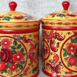 Wooden boxes for storage spices, folk painting by Anna Selezneva