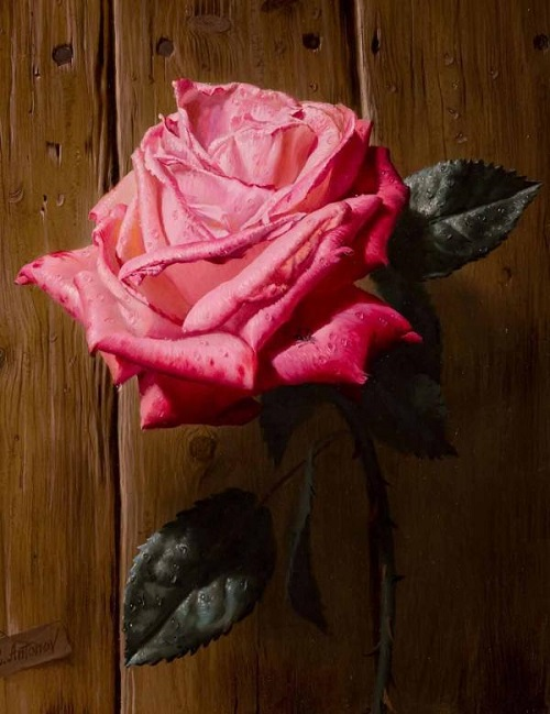 Red rose. Painting by Russian artist Alexei Antonov