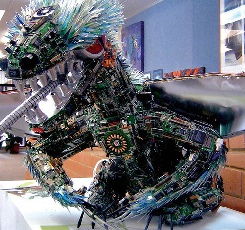 CDs and electronics parts sculpture by Australian artist Sean Avery