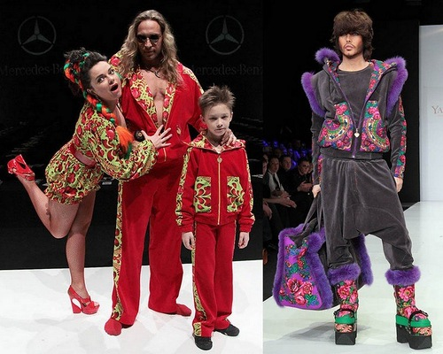 "Singer Natasha Koroleva with her husband ""Tarzan"" in the fashion show in the style of a-la-Russe"