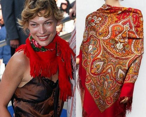 Milica Bogdanovna Jovovich, or Mila Jovovich wearing traditional Pavlovo-Posad shawl