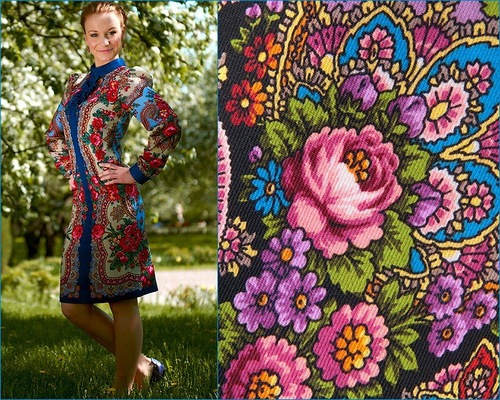 Beautiful Pavlovo-posad patterns, Russian style fashion