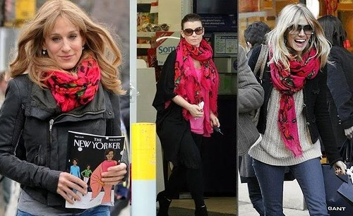 Western celebrities wearing Pavlovo-Posad shawls