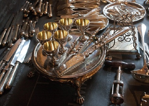 Antique silver service sets found in the restored building in St Petersburg