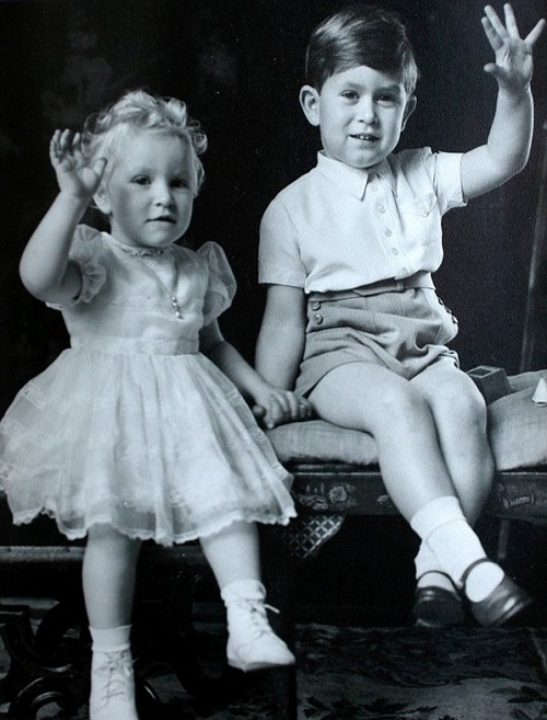 young Princess Anne and Prince Charles