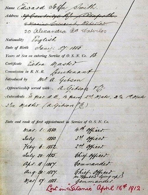 Document of some Englishman Edward Smith