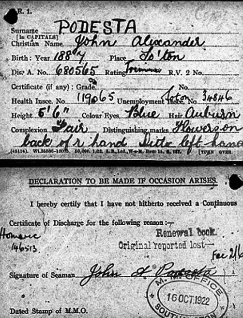 Podesta's ID card