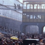 The scene of boarding on the Titanic