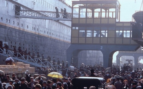 The scene of boarding on the Titanic