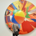 One of the works from the series Spin Painting by Hirst at the gallery Tate Modern in London