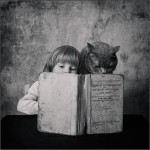 Black and white photographs by Andy Prokhorov, in the photo - Ekaterina Prokhorova and her cat