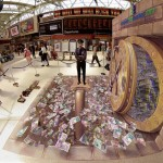 3D Pavement Illusion Art by American artist Kurt Wenner