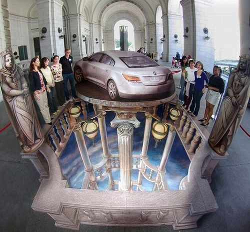 Stunning 3D Pavement Illusion Art by American artist Kurt Wenner