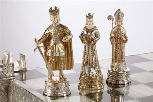 A German Jewel Encrusted Silver and bone chess set. Chess art-science-sport