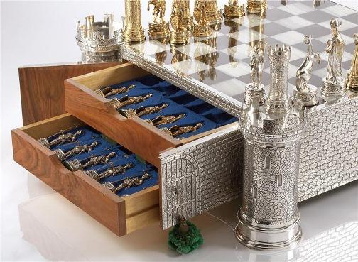 Jewel Encrusted Silver and bone chess set. Unknown maker, Hannau. Germany, circa 1970