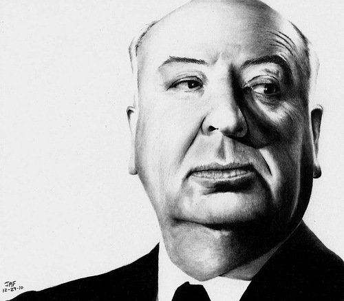 Alfred Hitchcock. Realistic pencil drawings by Rick Fortson