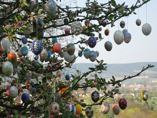 Apple tree decorated with Easter eggs, Germany