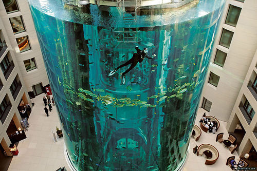 AquaDom - the world's largest cylindrical aquarium, Berlin, Germany