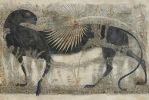 Black leopard, painting by Georgian artist Merab Abramishvili