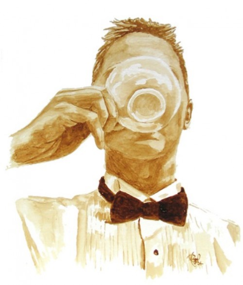 Morning coffee. Painting with coffee by American coffee artists Angel Sarkela Saur and Andrew Saur