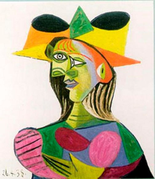 Colorful portrait of Dora Maar in 1938 painting by Pablo Picasso