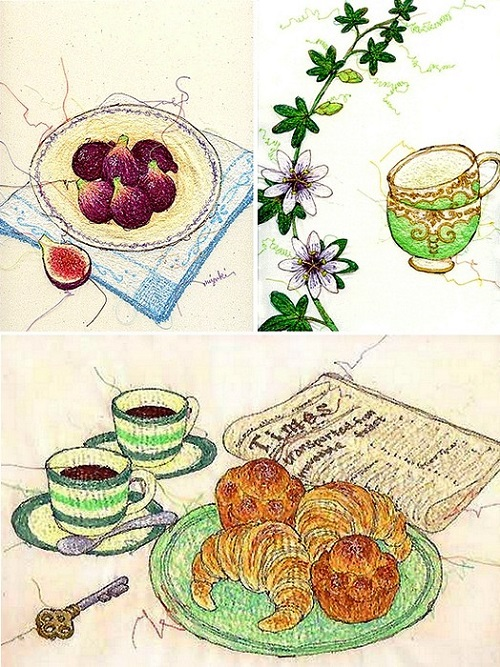 Embroidered with a sewing machine illustrations by Japanese artist Miyuki Sakai