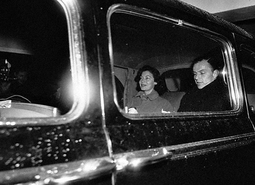 In a car. Frank Sinatra and Ava Gardner