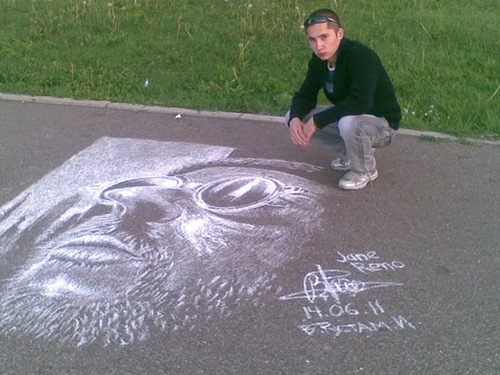 Hyperrealistic chalk drawing by Russian street artist Rustam Valeev