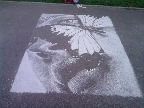 chalk drawing by Russian street artist Rustam Valeev