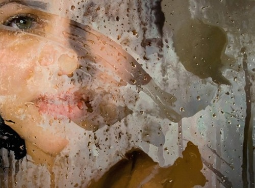 Behind the wet glass. Hyperrealistic painting by American artist Alyssa Monks