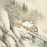 Winter in the mountains. Nature painting by Japanese artist Koukei Kojima