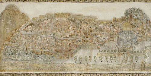 Jerusalem. Painting by Georgian artist Merab Abramishvili